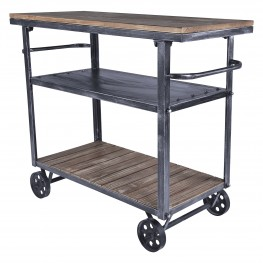 Reign Industrial Cart in Industrial Grey and Pine Wood