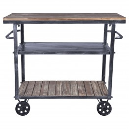 Armen Living Reign Industrial Cart in Industrial Grey and Pine Wood
