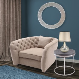 Rhianna Transitional Chair in Camel Tufted Chair with Wood legs