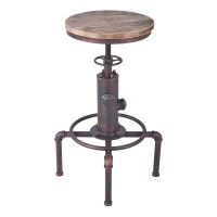 Remy Industrial Adjustable Barstool  in Industrial Copper and Pine Wood