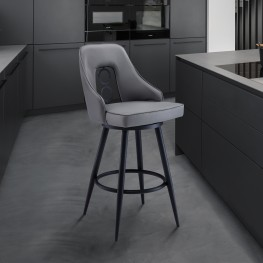 "Ruby Contemporary 26"" Counter Height Barstool in Black Powder Coated Finish and Grey Faux Leather"