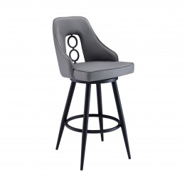 "Ruby Contemporary 30"" Bar Height Barstool in Black Powder Coated Finish and Grey Faux Leather"