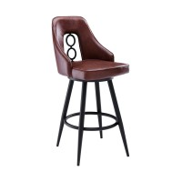 """Ruby Contemporary 26"""" Counter Height Barstool in Black Powder Coated Finish and Vintage Coffee Faux Leather"""