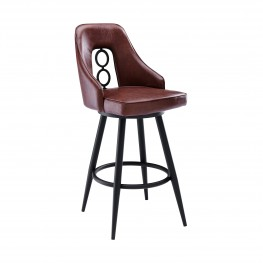 "Ruby Contemporary 30"" Bar Height Barstool in Black Powder Coated Finish and Vintage Coffee Faux Leather"