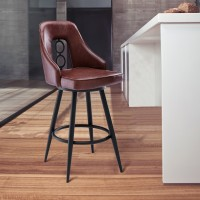 """Ruby Contemporary 30"""" Bar Height Barstool in Black Powder Coated Finish and Vintage Coffee Faux Leather"""