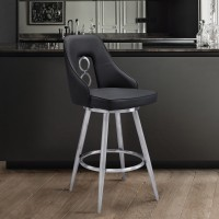 """Ruby Contemporary 26"""" Counter Height Barstool in Brushed Stainless Steel Finish and Black Faux Leather"""