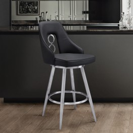 "Ruby Contemporary 26"" Counter Height Barstool in Brushed Stainless Steel Finish and Black Faux Leather"