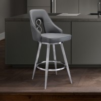 """Ruby Contemporary 26"""" Counter Height Barstool in Brushed Stainless Steel Finish and Grey Faux Leather"""