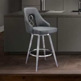"Ruby Contemporary 26"" Counter Height Barstool in Brushed Stainless Steel Finish and Grey Faux Leather"