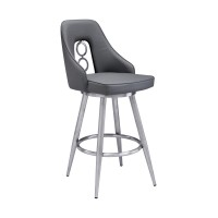 """Ruby Contemporary 30"""" Bar Height Barstool in Brushed Stainless Steel Finish and Grey Faux Leather"""