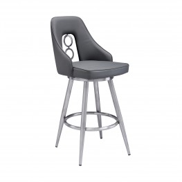 "Ruby Contemporary 30"" Bar Height Barstool in Brushed Stainless Steel Finish and Grey Faux Leather"