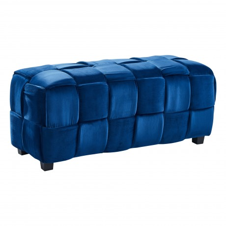 Raven Contemporary Long Ottoman in Blue Velvet