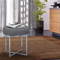 Armen Living Rory Contemporary Ottoman in Polished Stainless Steel Finish Base and Grey Fabric