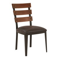 Armen Living Saugus Contemporary Dining Chair in Auburn Bay Finish with Bandero Espresso Fabric and Sedona Wood Back - Set of 2