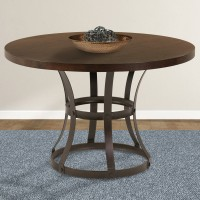 Armen Living Saugus Contemporary Dining Table in Auburn Bay Finish with Sedona Wood Top