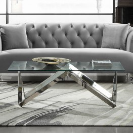 Armen Living Scarlett Contemporary Rectangular Coffee Table in Polished Steel Finish with Tempered Glass Top