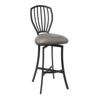 """Sandy Contemporary 26"""" Counter Height Barstool in Matte Black Finish and Vintage Grey Faux Leather"""