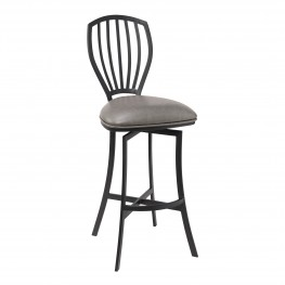"Sandy Contemporary 26"" Counter Height Barstool in Matte Black Finish and Vintage Grey Faux Leather"