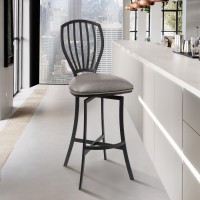 """Sandy Contemporary 30"""" Bar Height Barstool in Matte Black Finish and Vintage Grey Faux Leather"""