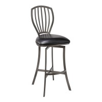 """Sandy Contemporary 26"""" Counter Height Barstool in Mineral Finish and Black Faux Leather"""