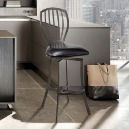 "Sandy Contemporary 26"" Counter Height Barstool in Mineral Finish and Black Faux Leather"