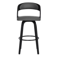"Shelly Contemporary 26"" Counter Height Swivel Barstool in Black Brush Wood Finish and Grey Faux Leather"