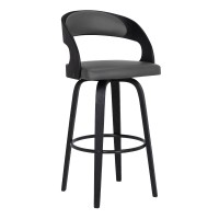 "Shelly Contemporary 30"" Bar Height Swivel Barstool in Black Brush Wood Finish and Grey Faux Leather"