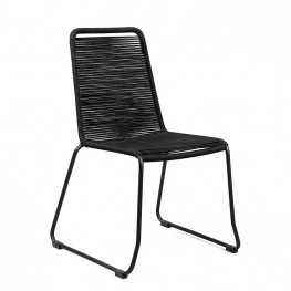 Shasta Outdoor Patio Dining Chair in Black Powder Coated Finish and Black Fishbone Textiling - Set of 2