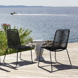 Shasta Outdoor Metal and Black Rope Stackable Dining Chair - Set of 2