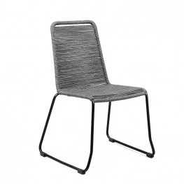 Shasta Outdoor Patio Dining Chair in Black Powder Coated Finish and Gray Fishbone Textiling - Set of 2