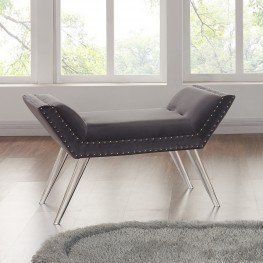 Silas Ottoman Bench in Gray Tufted Velvet with Nailhead Trim and Acrylic Legs