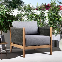 Sienna Outdoor Eucalyptus Lounge Chair in Teak Finish with Grey Cushions