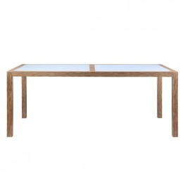 Sienna Outdoor Patio Dining Table in Eucalyptus Wood with Teak Finish and Gray Center Stone