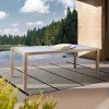Sienna Outdoor Eucalyptus Dining Table with Grey Teak Finish and Super Stone Top