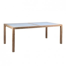 Sienna Outdoor Patio Dining Table in Acacia Wood with Teak Finish and Gray Center Stone