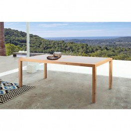 Sienna Outdoor Eucalyptus Dining Table with Teak Finish and Grey Super Stone Top