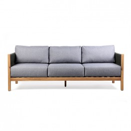 Sienna Outdoor Eucalyptus Sofa in Teak Finish with Grey Cushions