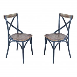 Sloan Industrial Dining Chair in Industrial Grey and Pine Wood - Set of 2