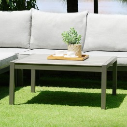 Solana Outdoor Square Coffee Table in Cosmos Grey Finish with Wood Top