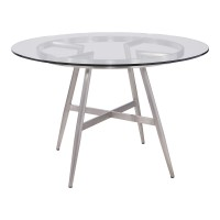 Soleil Contemporary Dining Table in Brushed Stainless Steel and Clear Glass Top