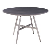 Soleil Contemporary Dining Table in Brushed Stainless Steel and Gray Walnut Top