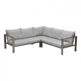 Solana Outdoor Sectional in Cosmos Finish with Grey Cushions