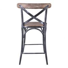 "Sloan Industrial 26"" Counter Height Barstool in Industrial Grey and Pine Wood"