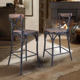 "Sloan Industrial 30"" Bar Height Barstool in Industrial Grey and Pine Wood"