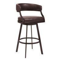 "Armen Living Saturn 26"" Counter Height Barstool in Auburn Bay and Brown Faux Leather"