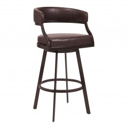 """Saturn 26""""Counter Height Barstool in Auburn Bay and Brown Faux Leather"""
