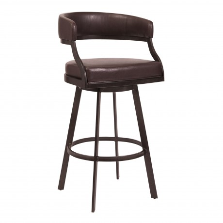 """Saturn 30"""" Bar Height Barstool in Auburn Bay and Brown Faux Leather"""