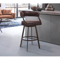 "Armen Living Saturn 30"" Bar Height Barstool in Auburn Bay and Brown Faux Leather"