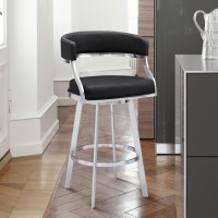 """Saturn Contemporary 26"""" Counter Height Barstool in Brushed Stainless Steel Finish and Black Faux Leather"""