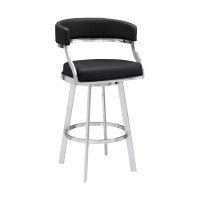 """Saturn Contemporary 30"""" Bar Height Barstool in Brushed Stainless Steel Finish and Black Faux Leather"""